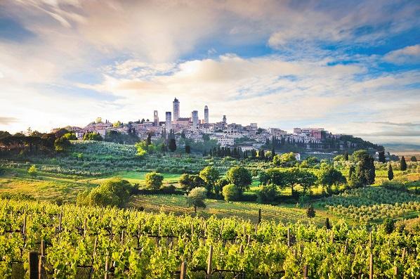 Toscana- vyer, vin och delikatesser